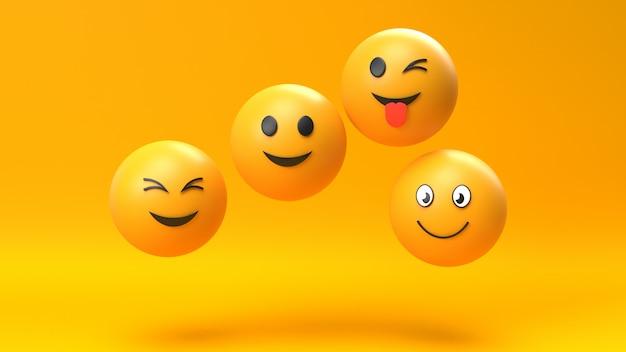 Emoji emoticon character background Premium Photo