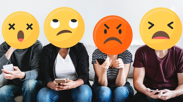 Emoji faces on social media Free Photo