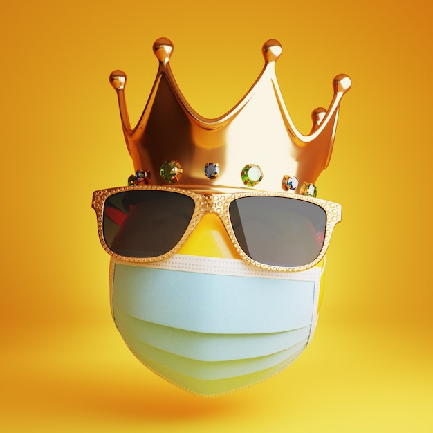 Emoji with a medical mask, sunglass and a royal crown 3d Premium Photo