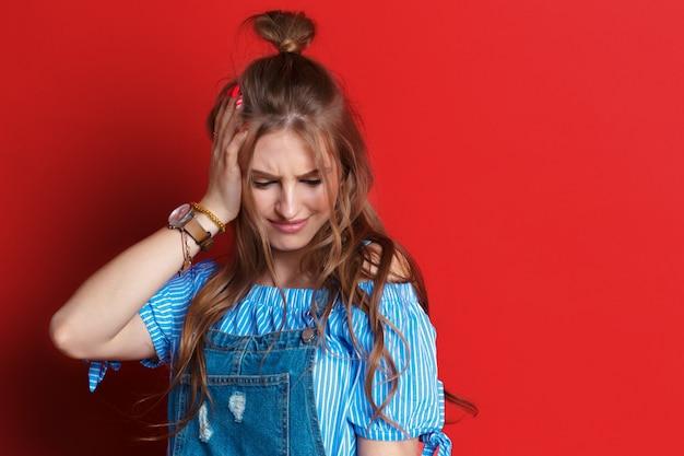 Emotional portrait sad woman Premium Photo