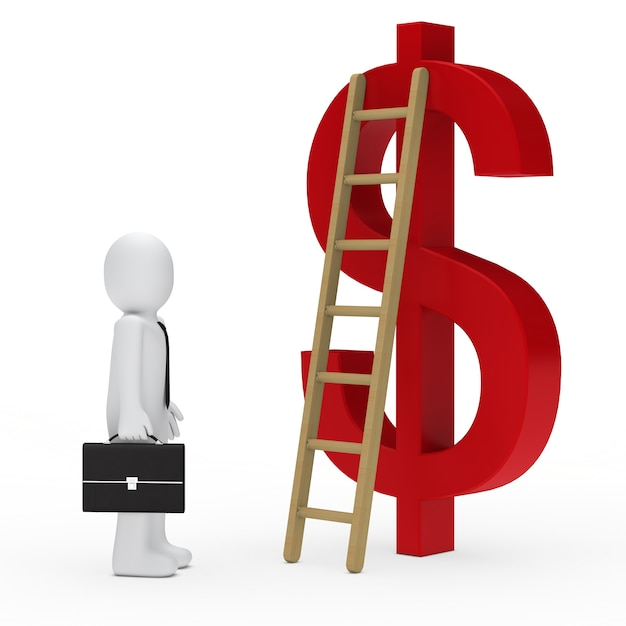 Employee looking at the ladder next to the dollar symbol Free Photo