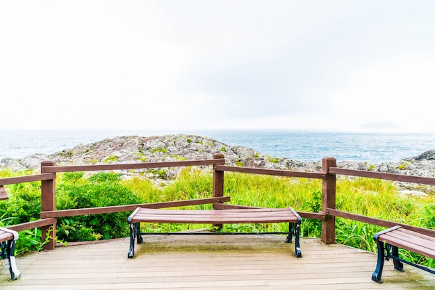 Empty bench at seaseom park in jeju island Premium Photo