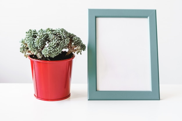 Empty blank photo frame with copy space and house plant for your design Premium Photo
