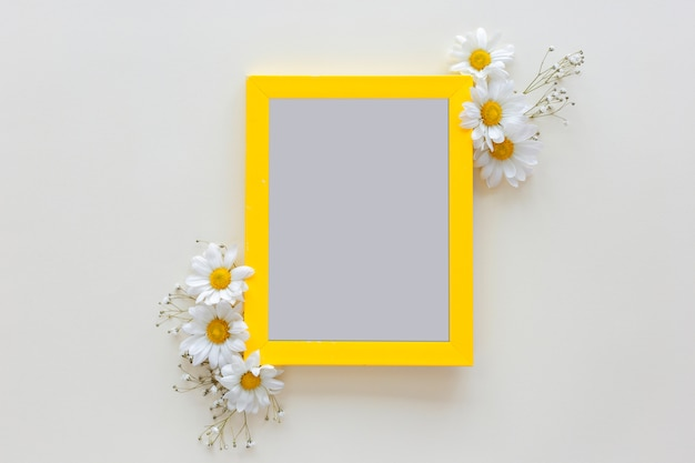 Empty blank photo frame with flower vase in front of white background Free Photo