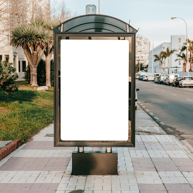 Empty blank stand on bus stop Free Photo