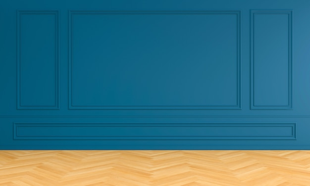 Empty blue room interior with moulding for mockup Premium Photo