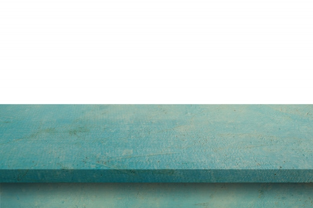 Empty blue wood table on isolate white background and display montage with copy space for product. Premium Photo