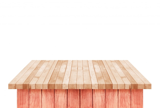 Empty brown wood shelf table isolated on white Premium Photo