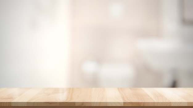 Empty brown wooden table in bathroom for product display montage Premium Photo