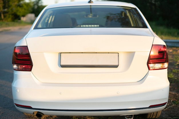 The empty car number plate license, the copy space or mockup design template Premium Photo