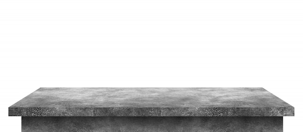Empty cement table with stone pattern isolated on pure white Premium Photo