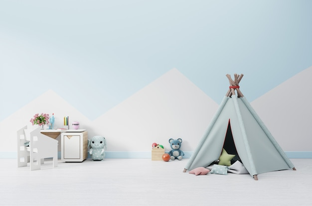 An empty children's playroom with tent and table sitting, doll. Premium Photo