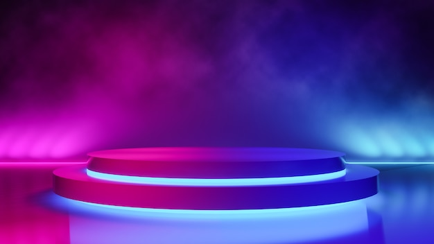 Empty circle stage with smoke and purple neon light Premium Photo