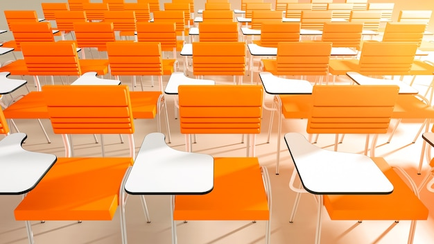 視点で空の大学教室の椅子 Premium写真