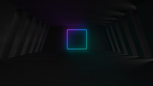 Empty concrete room with neon lights Free Photo
