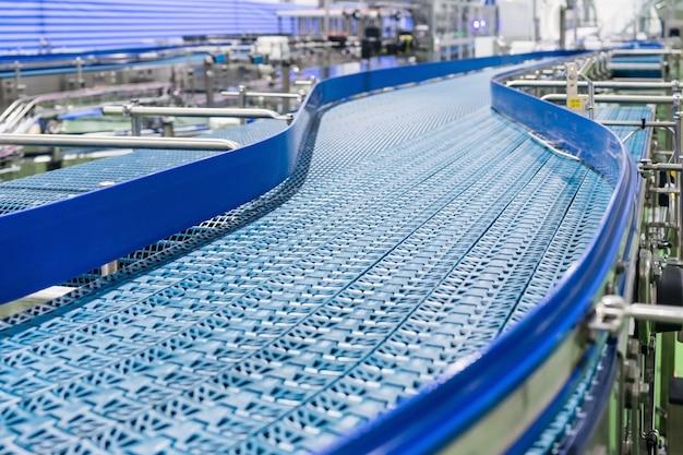 Empty conveyor belt of production line, part of industrial equipment Premium Photo