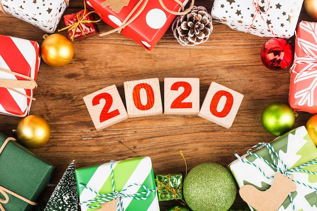 Empty copy space for inscription. idea of happy new year 2020 holiday. merry christm Premium Photo