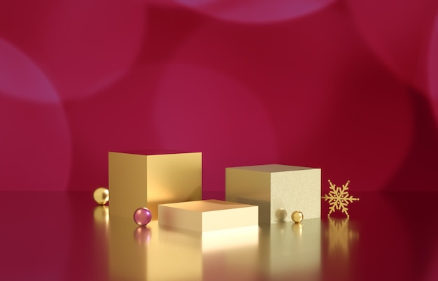 Empty cube box with bokeh background. luxury cosmetic product display scene. 3d render. Premium Photo