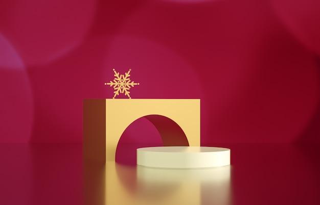 背景のボケ味を持つ空のシリンダーボックス。高級化粧品の展示シーン。 3 dレンダリング。 Premium写真