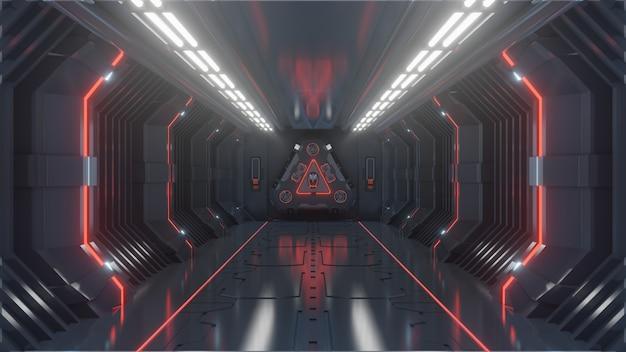 Empty dark futuristic sci fi room, spaceship corridors red light Premium Photo