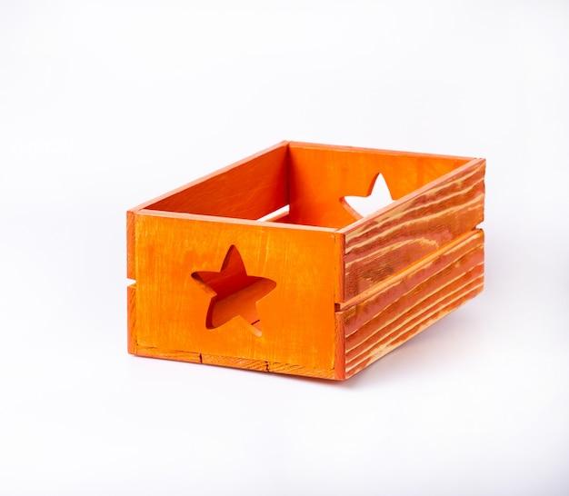 Empty decorative wooden crate isolated on white Premium Photo