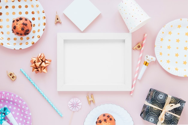 Empty frame with festive decorations Free Photo
