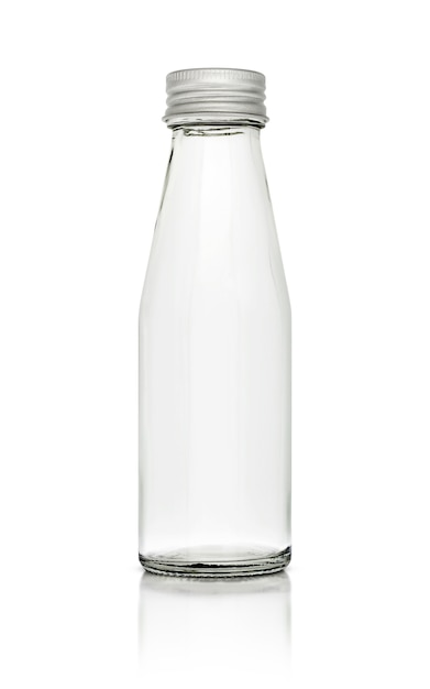 Empty glass packaging bottle isolated on white background Premium Photo