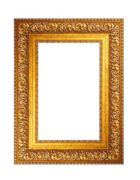 Empty golden vintage frame isolated on white Premium Photo