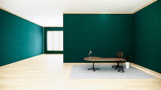 白い壁-空の部屋ビジネスルームインテリアの木製の床と空の緑の会議室インテリア。 3dレンダリング Premium写真