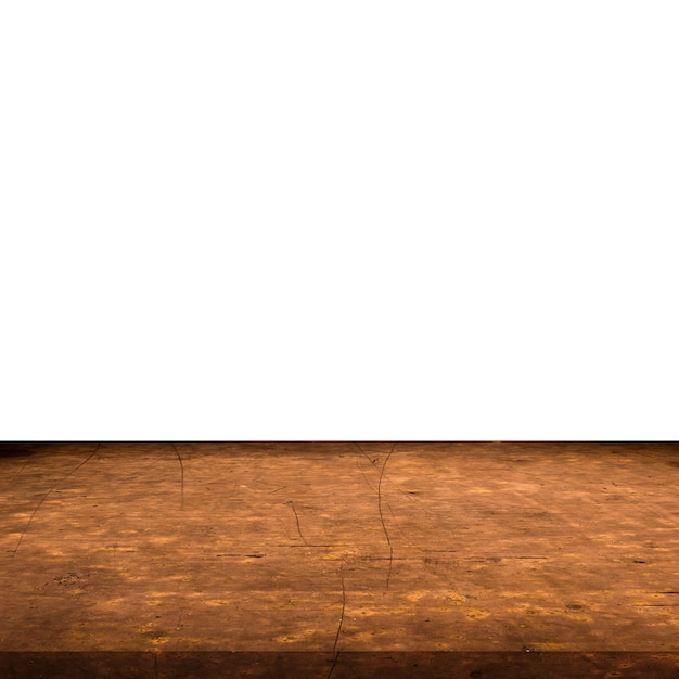 Empty grunge metal table on isolated white, display montage for product. Premium Photo