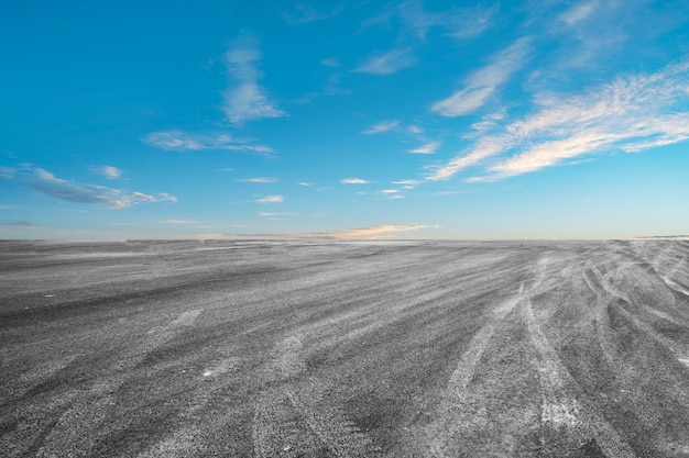 Empty highway asphalt road and beautiful sky landscape Premium Photo