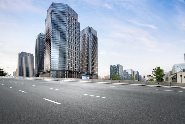 Empty highway with cityscape and skyline of chengdu,china Premium Photo