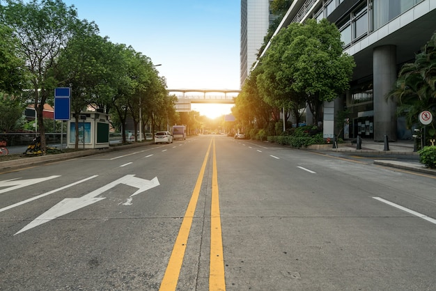 Empty highway with cityscape and skyline of shenzhen,china Premium Photo