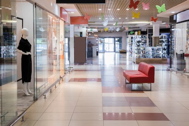 Empty indoor shopping center Free Photo
