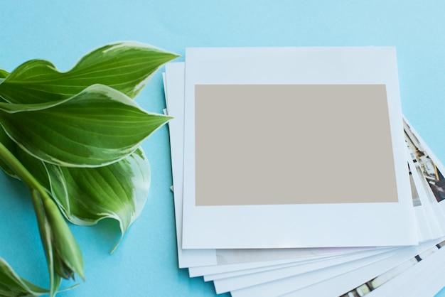 Empty instant photos with leaves Premium Photo
