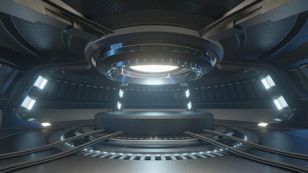 Empty light blue studio room futuristic interior with empty stage with lights blue. Premium Photo