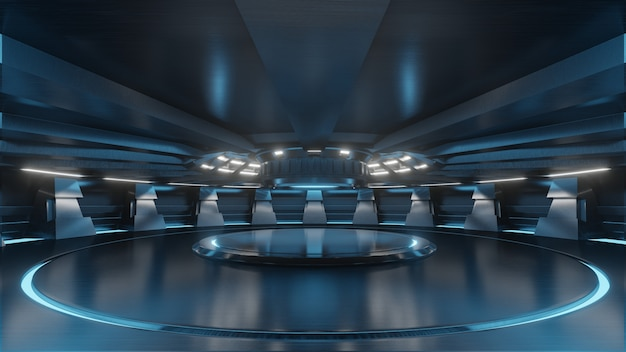 Empty light blue studio room futuristic sci fi big hall room with lights blue Premium Photo