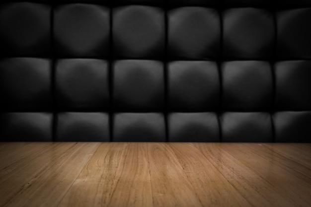 Пустой светлый цветной деревянный верхний стол с подсветкой фокуса и винтажный стиль Premium Фотографии