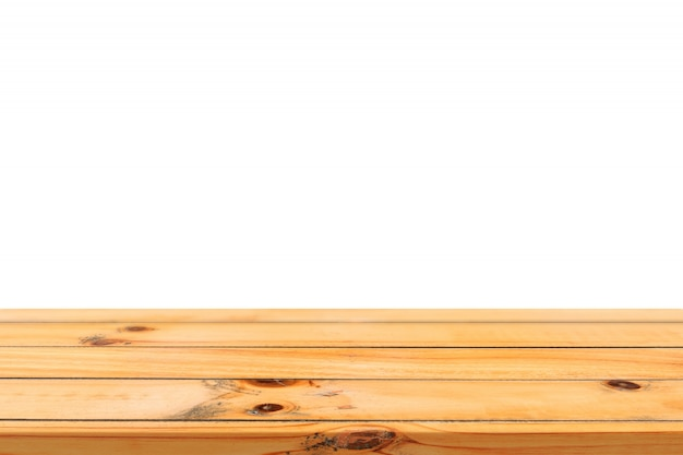 Empty Light Wooden Board Table Top Isolated On White Background.  Perspective Brown Wood Table Isolated On Background   Can Be Used Mock Up  For Display Or ...