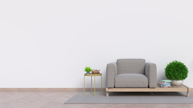 Empty living room with white wall and sofa in the - White walls living room ...
