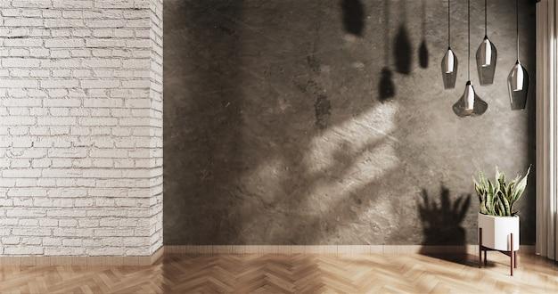 Пустой чердак с белой кирпичной стеной и растением Premium Фотографии