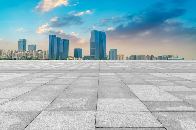 The empty marble floor and the city of suzhou. Premium Photo