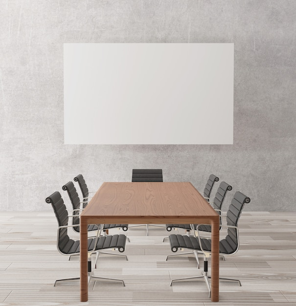 Empty meeting room with chairs, wooden table Premium Photo