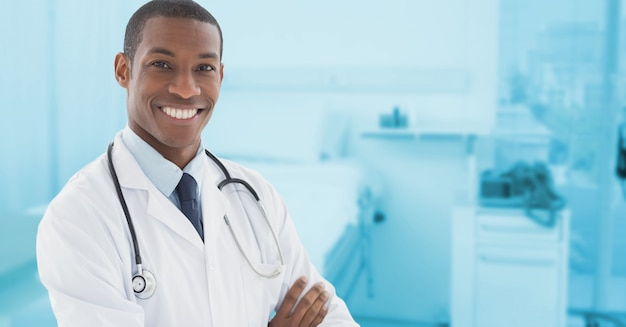 empty modern arms crossed corporate physician Free Photo