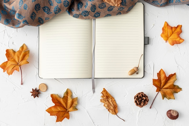 Empty notebook next to leaves and cloth Free Photo