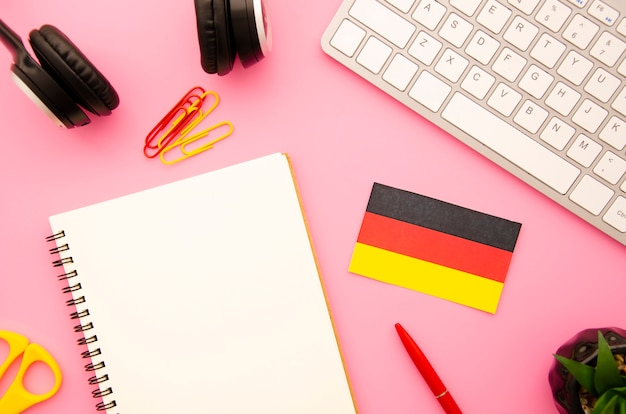 Empty notebook with german flag Free Photo