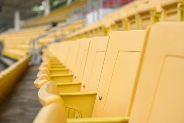 Empty old seat got abandoned in stadium with no spectators Premium Photo