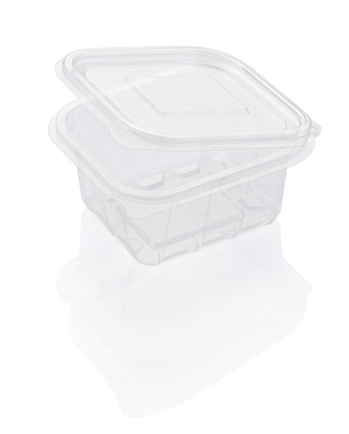 Пустой открытый прозрачный пластиковый контейнер для еды, изолированный на белом с обтравочным контуром Premium Фотографии