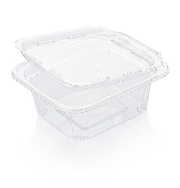 空の開いた透明なプラスチック製の食品容器がクリッピングパスで白で隔離 Premium写真