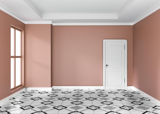 . Empty orange room interior design 3d rendering Photo   Premium Download